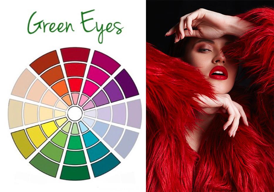 trucco rosso occhi verdi